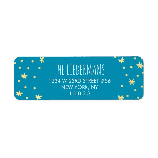 Estrellas lindas del oro + Etiqueta azul del Etiqueta De Remite