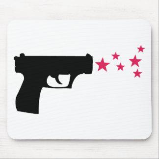 estrellas negras de la pistola de la estrella del  alfombrilla de ratón