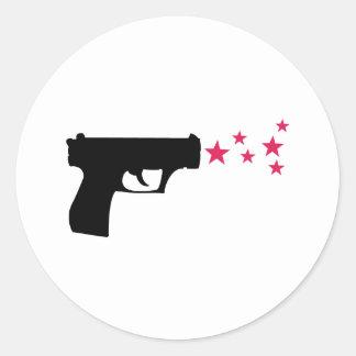 estrellas negras de la pistola de la estrella del pegatina redonda