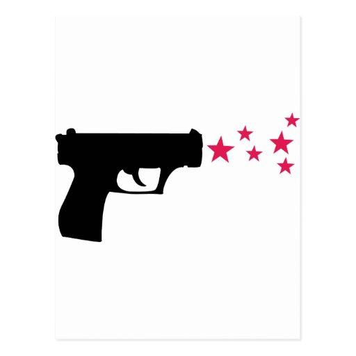 estrellas negras de la pistola de la estrella del  tarjeta postal