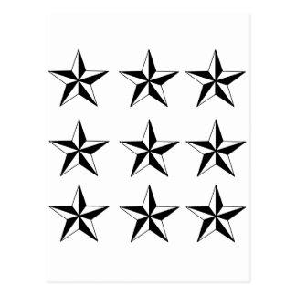 Estrellas negras y del blanco tarjeta postal