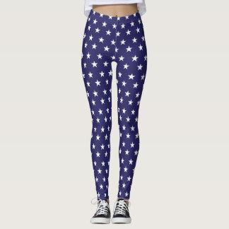 Estrellas patrióticas del blanco en campo azul leggings