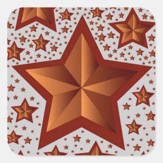 Estrellas Pegatina Cuadrada