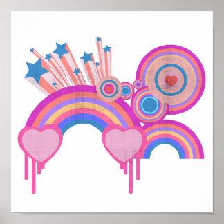 Estrellas punkyes rosadas y espirales del arco iri póster