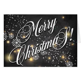 Estrellas y copos de nieve de las Felices Navidad Tarjeta De Felicitación