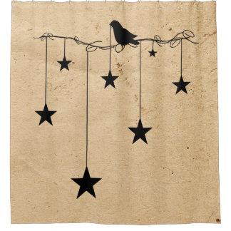 Estrellas y cortina de ducha colgantes del cuervo