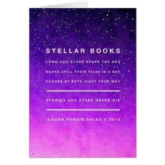 Estrellas y libros tarjeta pequeña