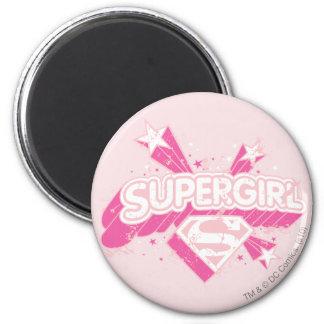 Estrellas y logotipo de Supergirl Imán Redondo 5 Cm