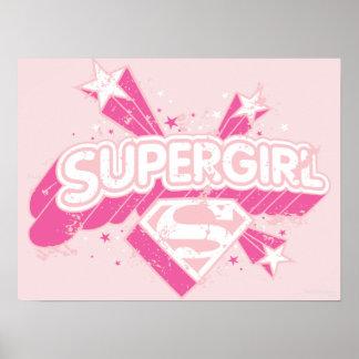 Estrellas y logotipo de Supergirl Póster