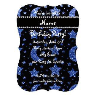 Estrellas y lunas azules conocidas de encargo del invitación 12,7 x 17,8 cm