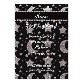 Estrellas y lunas de plata conocidas de encargo invitación 12,7 x 17,8 cm