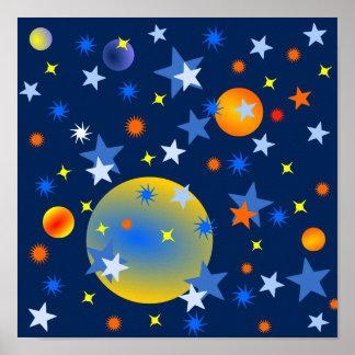 Estrellas y planetas celestiales póster