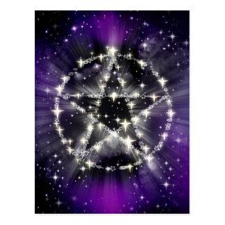 Estrellas y postal del pentagram