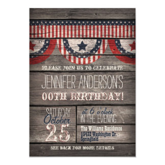 Estrellas y rayas, cumpleaños adolescente adulto invitación 12,7 x 17,8 cm