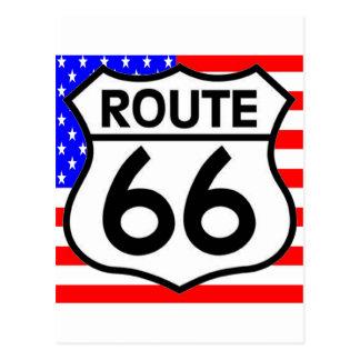 Estrellas y rayas del escudo de la ruta 66 de la postal