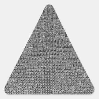 estructura tejida, plata del metal pegatina triangular