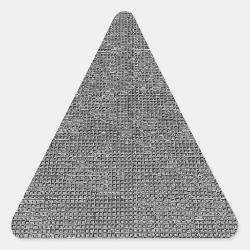 estructura tejida, plata del metal pegatinas trianguloes