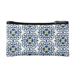 Estuche De Maquillaje Caja cosmética floral de los azules marinos