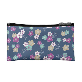 Estuche De Maquillaje Mint blue & violet hawaiian flowers exotic pattern