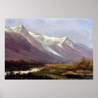 Estudio de Albert Bierstadt de montañas Póster
