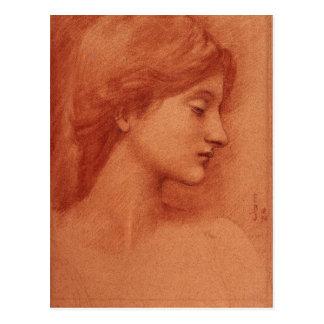 Estudio de una cabeza femenina, bella arte de postal