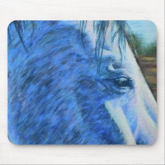 Estudio del caballo en azul alfombrilla de ratón