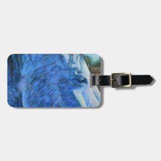 Estudio del caballo en azul etiqueta para maletas