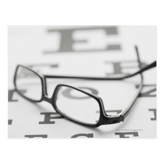 Estudio tirado de lentes en carta de ojo tarjeta postal