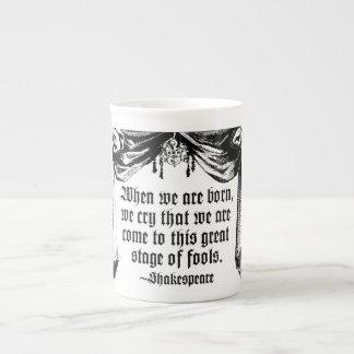 Etapa de la taza de la cita de los tontos, taza de porcelana