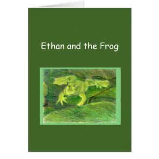 Ethan y la rana poca plantilla de la aventura tarjeta de felicitación