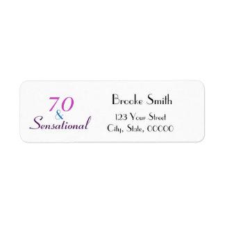 Etiqueta 70 y remite del 70.o cumpleaños sensacional