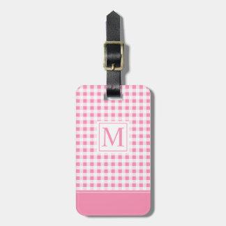 Etiqueta a cuadros rosada preciosa del equipaje