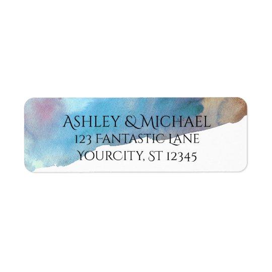 Etiqueta Acuarela abstracta de la playa del azul y de la
