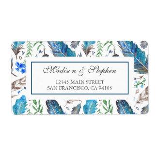 Etiqueta Acuarela azteca azul de Boho - boda