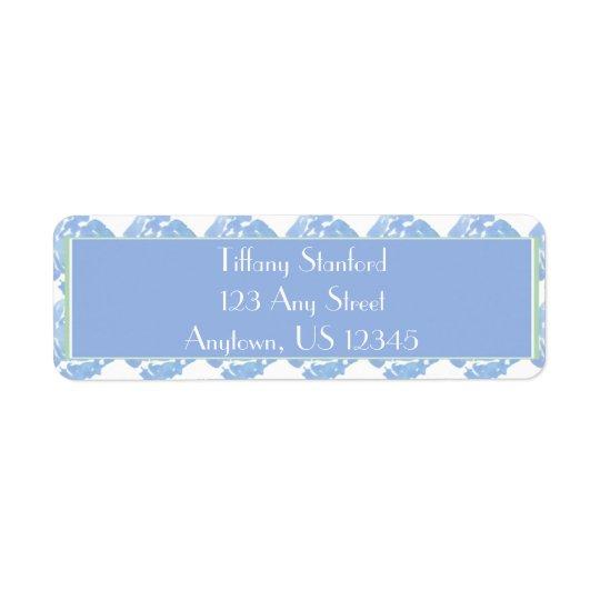 Etiqueta Acuarela azul el   floral personalizado