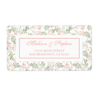 Etiqueta Acuarela botánica del verde y del rosa - boda