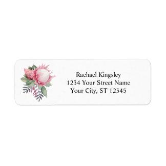 Etiqueta Acuarela de la fantasía del Protea floral