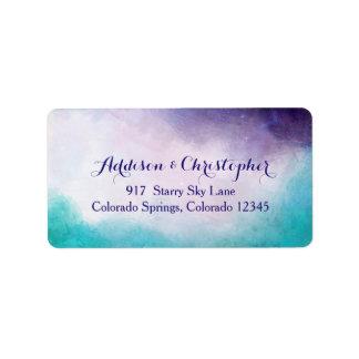 Etiqueta Acuarela de la violeta y de la turquesa