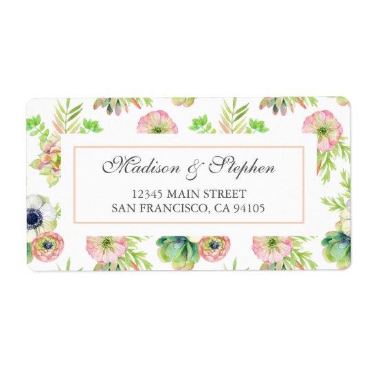 Etiqueta Acuarela floral y Succulents - boda