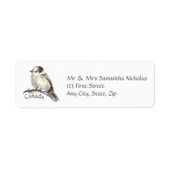 Etiqueta Acuarela gris, pájaro del nacional de Jay gris