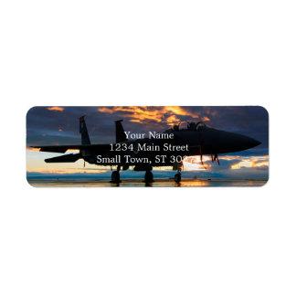 Etiqueta Aeroplano del avión de combate en los regalos de