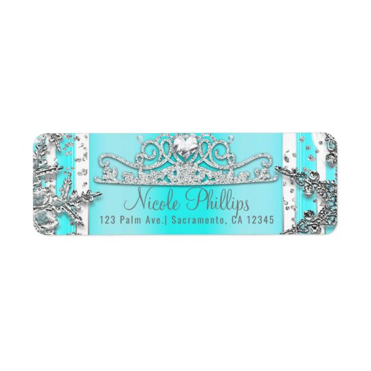 Etiqueta Aguamarina azul y copos de nieve de plata del país