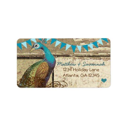 Etiqueta Aguamarina elegante del país que golpea el pavo