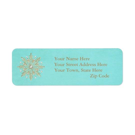 Etiqueta Aguamarina y oro de los copos de nieve del navidad