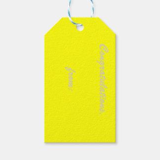 Etiqueta amarilla del regalo de la enhorabuena etiquetas para regalos