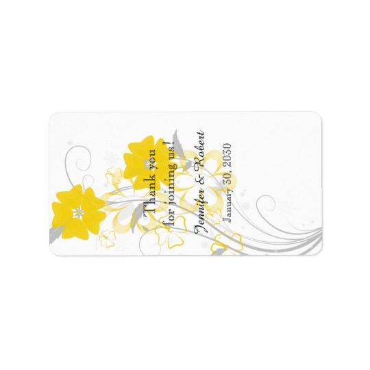 Etiqueta amarilla romántica de florecimiento del etiquetas de dirección