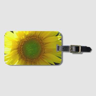 Etiqueta amarilla soleada del equipaje del girasol