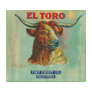 Etiqueta anaranjada del EL Toro Impresión En Lona Estirada