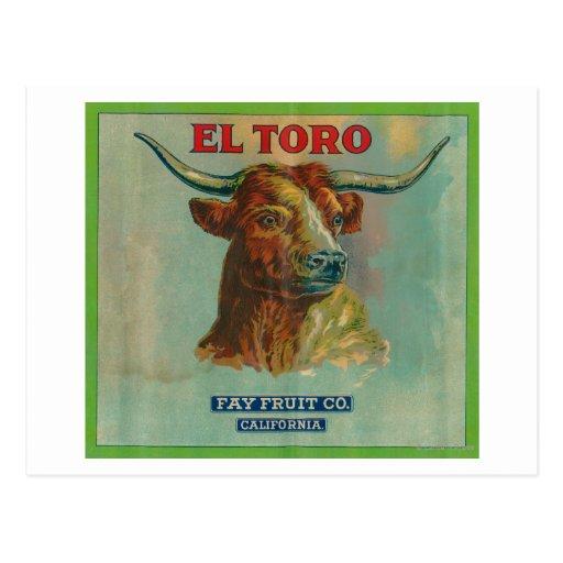 Etiqueta anaranjada del EL Toro Tarjetas Postales