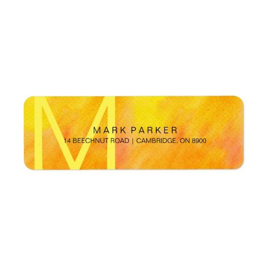 Etiqueta anaranjada minimalista moderna de la etiqueta de remite